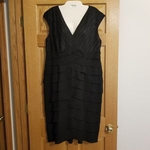 Adrianna Papell black sleeveless layered dress
